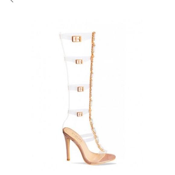 5872f2ffa8 Simmi Shoes Gem clear knee high heel stiletto NWT